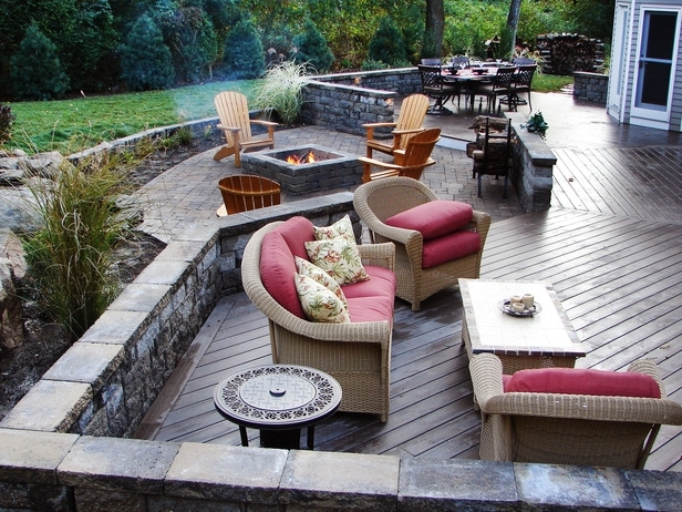 backyard deck with fire pit